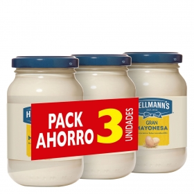 Mayonesa Hellmann's pack de 3 tarros de 225 ml.