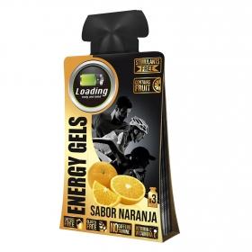 Gel energético Loading sabor naranja pack de 3 bolsitas de 30 g.