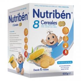 Papilla de 8 cereales con galletas María Nutribén 600 g.