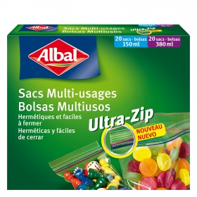 Bolsas multiusos cierre ultra-zip 150 ml. y 380 ml. Albal 40 bolsas.
