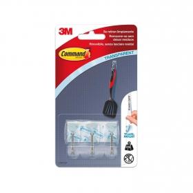Set de 3 Ganchos adhesivos de Plástico 2 x 2 x 4 cm -Translúcido
