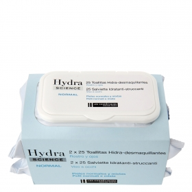 Toallitas Hidra-desmaquillantes para pieles normales y mixtas Les Cosmétiques -Hydra Science pack de 2 paquetes de 25 ud.