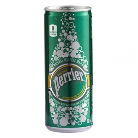 Agua mineral Perrier natural con gas lata 25 cl.