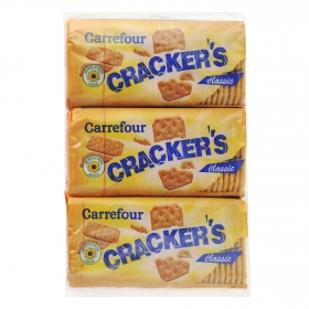 Crackers Carrefour pack de 3 unidades de 100 g.