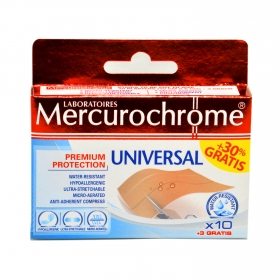 Bandas adhesivas universal Mercurochrome 10 ud.