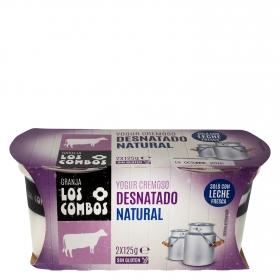 Yogur desnatado cremoso natural Los Combos sin gluten pack de 2 unidades de 125 g.