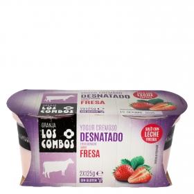 Yogur desnatado cremoso de fresa Los Combos sin gluten pack de 2 unidades de 125 g.