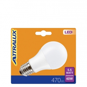 Bombilla LED Estándar Mate Cálida 5,5W = 40W E27 Attralux