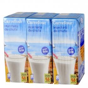Horchata de chufa Carrefour pack de 3 briks de 200 ml.