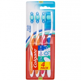 Cepillo dental Triple Action medium Colgate 4 ud.