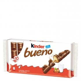 Barrita de chocolate con leche relleno de crema de avellanas Kinder Bueno pack de 10 unidades de 44 g.