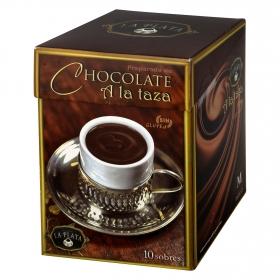 Chocolate a la taza en polvo La Plata sin gluten 10 sobres.