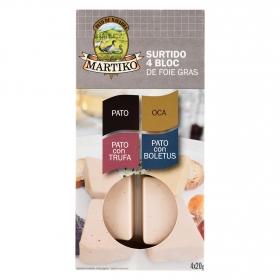 Tabla surtido bloc de foie gras: pato, oca, pato con trufa y pato con boletus Martiko pack de 4 unidades de 20 g.