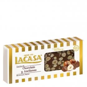 Turrón de chocolate y avellanas premium Lacasa sin gluten 250 g.