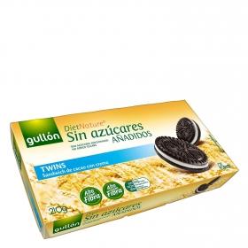 Galletas de cacao rellenas de crema Twins sin azúcares añadidos Diet Nature Gullón 210 g.