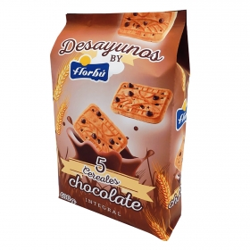 Galletas integrales de cereales y chocolate  Florbú 400 g.
