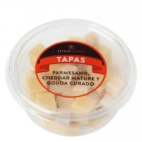 Quesos mixto snacks: parmesano, cheddar mature y gouda curado Juan Luna 160 g