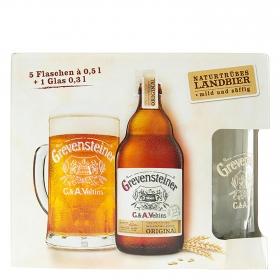 Cerveza Grevensteiner pack de 5 botellas de 50 cl. + vaso
