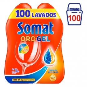 Lavavajillas máquina con vinagre en gel Somat pack de 2 unidades de 50 lavados.