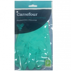 2 Guantes especial lejía de Nitrilo Carrefour  P - Verde