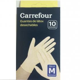 10 Guantes desechables de Látex Carrefour  M - Blanco