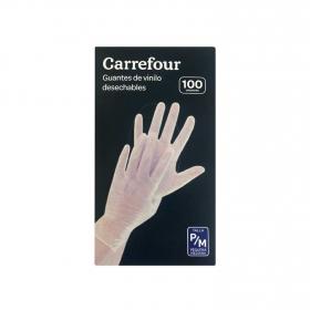 100 Guantes desechables de Vinilo Carrefour  P/M - Translúcido