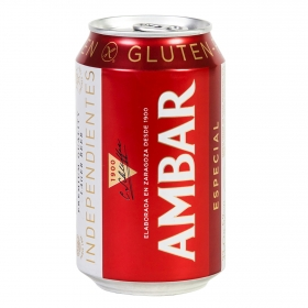 Cerveza Ambar Lager especial sin gluten lata 33 cl.