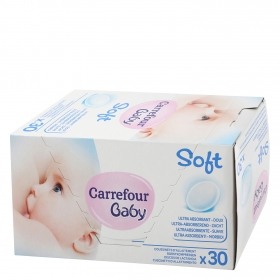 Discos de lactancia ultra-absorbente Carrefour Baby 30 ud.