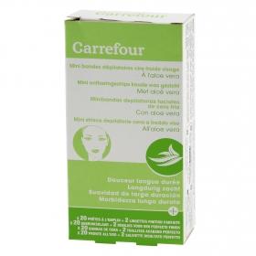 Minibandas depilatorias faciales de cera fría con aloe vera Carrefour 20 ud.