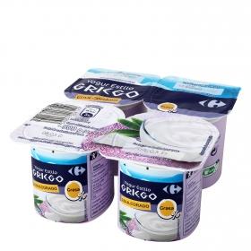 Yogur estilo griego desnatado edulcorado Carrefour pack de 4 unidades de 125 g.