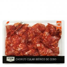 Chorizo cular ibérico de cebo lonchas extrafinas Supreme de Antaño envase 100 g