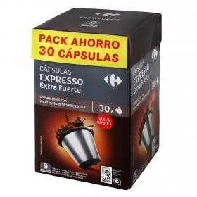 Café extra fuerte en cápsulas Carrefour compatible con Nespresso 30 unidades de 5,2 g..