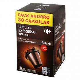 Café intenso en cápsulas Carrefour compatible con Nespresso 30 unidades de 5,2 g.