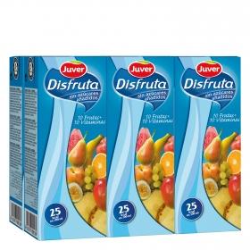 Zumo de 10 frutas y vitaminas Juver-Disfruta pack de 6 briks de 20 cl.