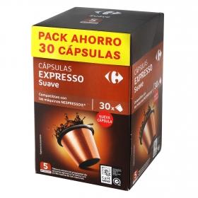 Café suave en cápsulas Carrefour compatible con Nespresso 30 unidades de 5,2 g..
