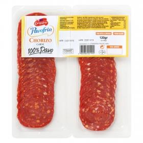 Chorizo de pavo 100% loncheado Pavofrio bipack (2x60g) envase 120 g