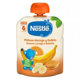 Plátano, naranja y galleta en bolsita