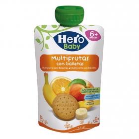 Preparado multifrutas con galleta desde 6 meses Hero Baby sin gluten bolsita de 100 g.