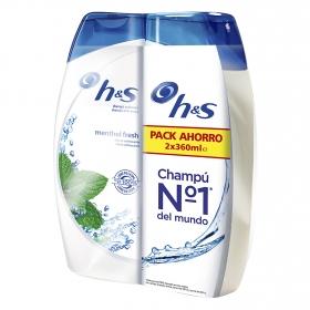 Champú anticaspa menthol fresh efecto refrescante H&S pack de 2 unidades de 360 ml.