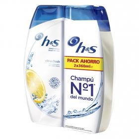 Champú anticaspa citrus fresh para cabello graso H&S pack de 2 unidades de 360 ml.