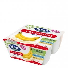 Yogur de plátano desde 6 meses sin azúcar añadido Hero Baby Yogurines pack de 4 unidades de 100 g.