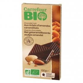 Chocolate negro con almendras caramelizadas ecológico Carrefour Bio 100 g.