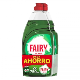 Lavavajillas a mano ultra Original Fairy pack de 2 unidades de 750 ml.