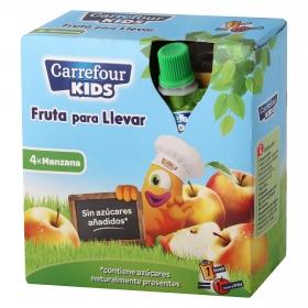 Compota de manzana Carrefour Kids pack de 4 unidades de 90 g.