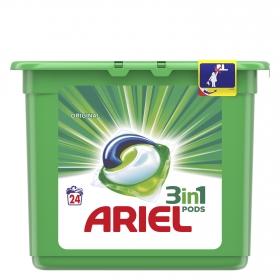 Detergente en cápsulas 3 en 1 Ariel 24 ud.