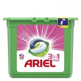 Detergente 3 en 1 en cápsulas Sensaciones Ariel 24 ud.