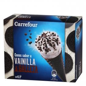 Cono de helado  de vainilla y galleta