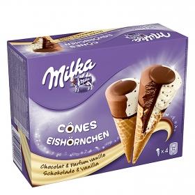 Conos con helado de chocolate y vainilla Milka 4 ud.