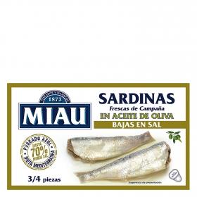 Sardinas en aceite de oliva bajas en sal Miau 88 g.