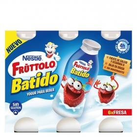 Yogur líquido de fresa Nestlé Fruttolo sin gluten pack de 6 unidades de 90 g.